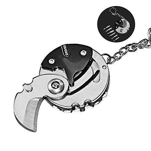 XIE 2 pcs Multifuncional Acero Plegable Bolsillo Cortador Destornillador Moneda en Forma de Supervivencia Que acampa Llavero Cuchillo Redondo con Destornillador Negro