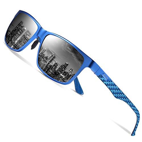 DUCO Herren Polarisierte Sonnenbrille mit Rechteckig Metallrahmen und Kohlefaser Brille Beine UV400 CAT 3 CE 8206 (Blau Rahmen Schwarz linse)