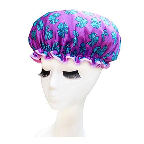 Bonnet de douche de qualité doubles couches Cap étanche Bath Papillon, Violet