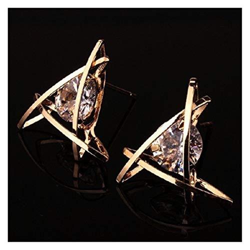 Hundido Pendientes de Mujer Joyería Geométrica Hollow Square Triángulo Zircon Pendientes Joyería de Moda (Metal Color : JER03)