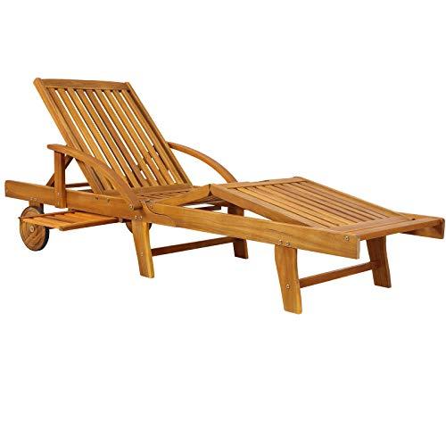 Deuba Chaise Longue Tami Sun en Bois d'acacia 200cm transat Bain de Soleil Chaise de Jardin extérieur Balcon terrasse