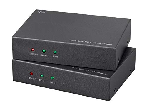 Monoprice HDMI and USB KVM Extender - Black Use Cat5e or Cat6 | extends up to 154ft, 1080p@60Hz | USB 2.0 | PoC