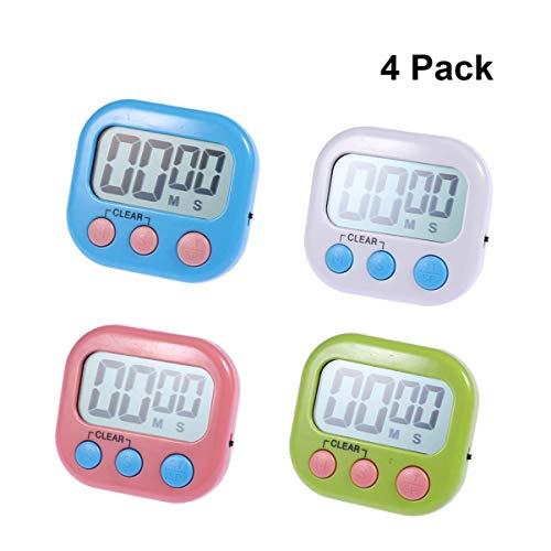 Hemoton Küchentimer LCD Display Niedlich Tragbare Mini Countdown-Timer Lauter Alarm Count Up Timer Uhr mit Großen Ziffern zum Kochen 4 stücke