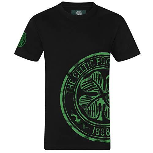 Celtic FC - Herren T-Shirt mit Grafik-Print - Offizielles Merchandise - Schwarz - Logo am Ärmel - L