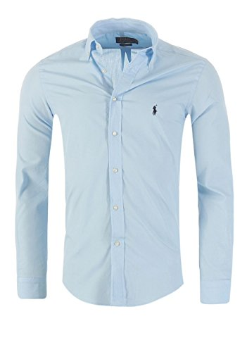 Ralph Lauren Camicia da Uomo Classic Slim Fit S-M-L-XL-XXL, in Diversi Colori, Dimensione:2XL, Colore:Azzurro
