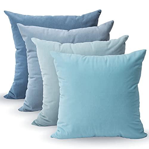 Tayis Fundas de Cojín 45x45cm,Azul Juego de 4 Almohadas Cuadradas Decorativas de Terciopelo Suave Fundas de Almohada Sólidas para Sala de Estar,Sofá,Dormitorio