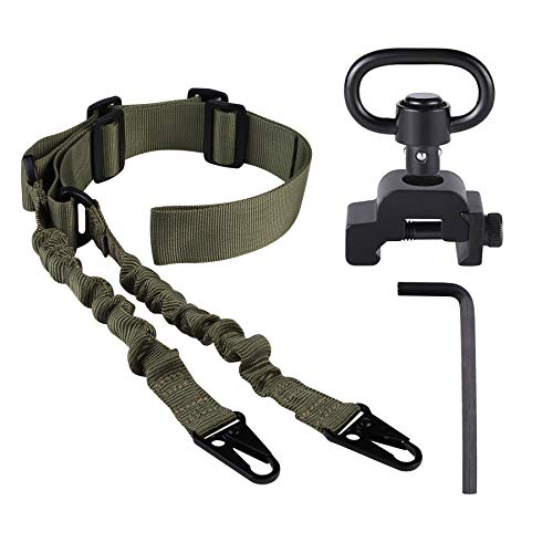 Two Point Sling with QD Swivel, Rifle Sling Adjustable Traditional Sling with Qucik Release Sling Mount (Khaki)