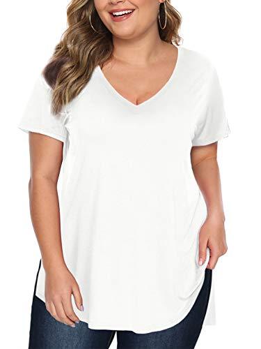 Beluring Damen Tshirt Große Größen Sexy Oberteil Kurzarm T-Shirt V Ausschnitt Tops Sommer Tunika Longshirt Weiß 4XL
