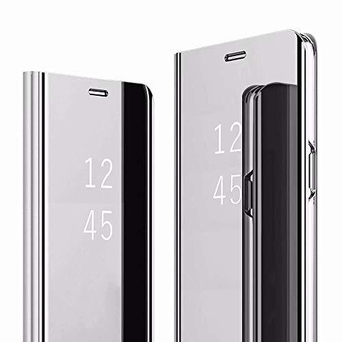 HUUH Funda para OnePlus 6T McLaren,Caja del teléfono Espejo,Hecha PC+PU Material Compuesto,Soporte Plegable,Elegante y único Carcasa(Plata)