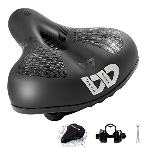WESTLIGHT Bike Seat, Bicycle Saddle Waterproof Anti-slip Soft Wide Bike Gel Saddles, Breathable Mountain Bike Seat with Reflective signs, Soft Cushion Memory Foam for MTB, Spinning Bikes (109-black)