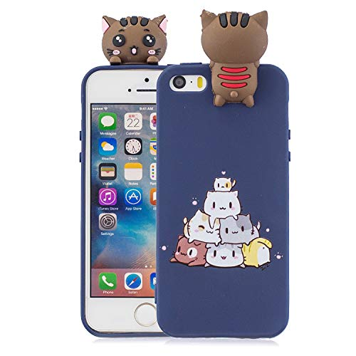 Yobby Hülle für iPhone SE,iPhone 5S/5 Handyhülle,3D Cartoon Süß Tiere Slim Weich Silikon Gummi Gel Schutzhülle,Kinder Mädchen Teen Jungs Cool Schön Kawaii Rückseite-Dunkelblau Katzen