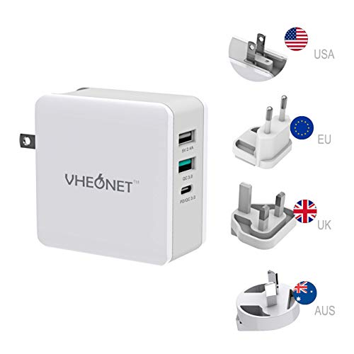 Fast Charging USB C Wall Charger 3-Port 65W PD Wall Adapter with Foldable Plug for MacBook, iPhone Xs/XS Max/XR, Samsung Galaxy S8 / S8+ / Note8 and More (White)