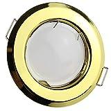 LED Einbaustrahler gold rund 3 Watt warmweiß 230V – GU10 Einbauleuchte 55-60mm Bohrloch – Einbau-Spot Decken-Strahler Deckeneinbaustrahler Deckenspot Deckeneinbauleuchte Einbauleuchte