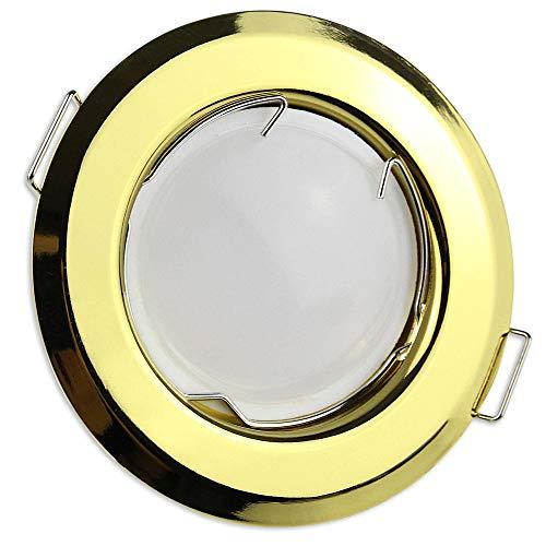 6x LED Einbaustrahler gold rund 7 Watt warmweiß 12V mit Trafo – MR16 Einbauleuchten schwenkbar aus Aluminium Ø 55-60mm Bohrloch – Einbau-Spot Decken-Strahler Deckeneinbaustrahler