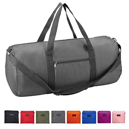 Vorspack Duffel Bag 24 Inches Foldable Lightweight Gym Bag with Inner Pocket for Travel Sports - Grey