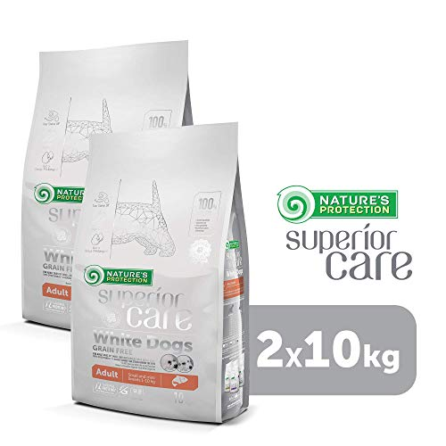 Nature's Protection Superior Care White Dogs Grain Free Dog Food With Salmon For Adult Small And Mini Breeds No Tear Stain Healthy Dog Coat & Skin, 2 Packs of 10 kg