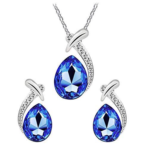 Yosemite Jewelry - Collar con Colgante de Gota de Agua y Pendientes de Cristal sintético, Color Azul