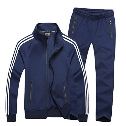 WanYangg Chandal Tallas Grandes para Hombre Mujer Unisexo 2 Piezas Desgaste De Pareja Casual Conjuntos Deportivos Chándal Manga Larga Cremallera Chaqueta + Pantalones M-Azul # 2 6XL