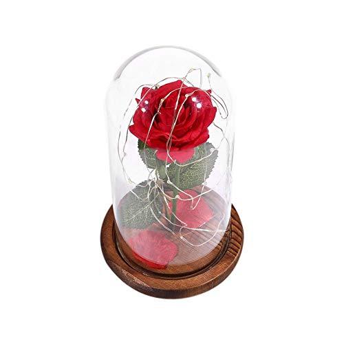 Cubierta de vidrio Lámpara LED de flores preservadas, LED 8 modos USB Florero de rosas Regalo de boda para el día de San Valentín con control remoto (Marrón)