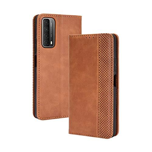 TOPOFU Leder Hülle für Huawei P Smart 2021, Premium Flip Wallet Tasche mit Ständer & Kartenfächer, PU/TPU Magnetic Lederhülle Handyhülle Schutzhülle für Huawei P Smart 2021 (Braun)