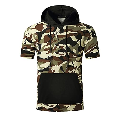 Shirt Hombres Slim Fit Camuflaje Hombres Manga Corta Cuello Redondo con Cordón Hombres Sudadera con Capucha Correr Acampar Escalada Viajes Al Aire Libre T-Shirt C-003 L