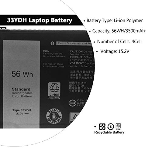 SWEALEER 33YDH Laptop Battery Compatible With Dell Inspiron 15 7577 17 7000 7773 7778 7786 7779 G3 15 3579 G3 17 3779 G5 15 5587 G7 15 7588 Latitude 13 3380 14 3490 15 3590 3580 P99NF2 VHT1 56Wh 33YDH