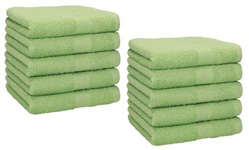 Betz Lot de 10 Serviettes débarbouillettes lavettes Taille 30x30 cm en 100% Coton Premium Couleur Vert Pomme