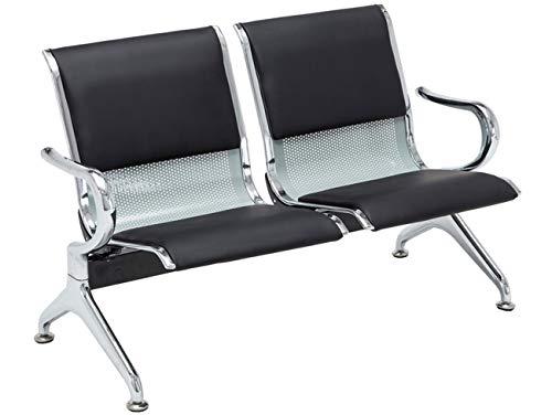 Banco de Espera Airport en Cuero Sintético | Banco Robusto con Base de Metal | Banco con Reposabrazos | Color:, Color:Negro/Plata, Tamaño:2 plazas