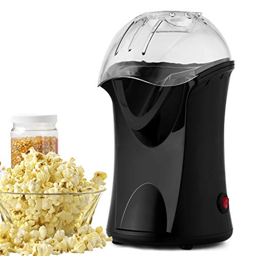 1200W Popcorn Maker Machine Electric Hot Air Popcorn Popper Maker with Wide Measuring Cup,Wide Mouth Design for Home Family Use,No Oil Needed (Black)