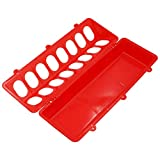Plastic Flip Top Chicken Feeders, 2 Pieces Poultry Feeder Chicken Trough Feeding Tray with Holes for Pigeon Quails