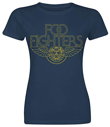 Foo Fighters Tiger Wings Donna T-Shirt Blu Navy L 100% Cotone Regular