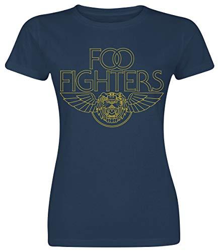 Foo Fighters Tiger Wings Mujer Camiseta Azul Marino XXL, 100% algodón, Regular