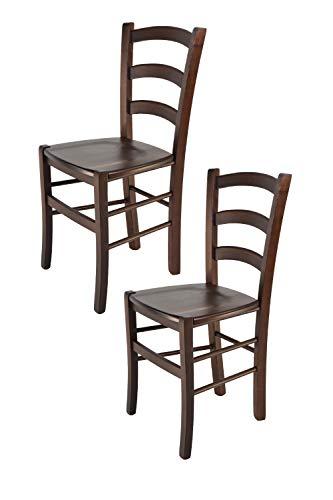 Tommychairs - Set 2 sillas Venice para Cocina y Comedor, Estructura en Madera de Haya Color Nuez y Asiento en Madera