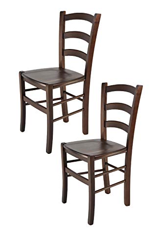 Tommychairs - Set 2 sedie modello Venice per cucina bar e sala da pranzo, robusta struttura in legno di faggio color noce scuro e seduta in legno