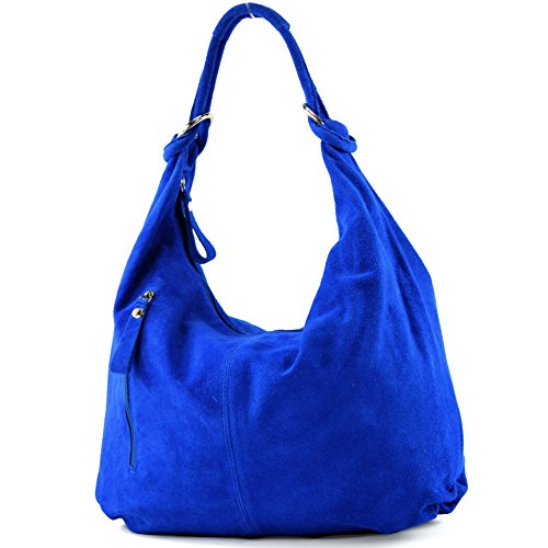 modamoda de - T158 - ital Schultertasche aus Wildleder Leder, Farbe:Royalblau