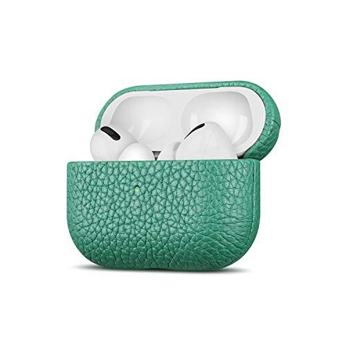 Fooyin Handmade Series Funda de Cuero para AirPods Pro, Protección Cover (Estuche de Piel Flor Litchi) Carcasa Compatible con los Apple AirPods Pro - Verde