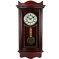 Bedford Clock Collection BED1247CHR Weathered Wall Clock with Pendulum, Cherry Wood