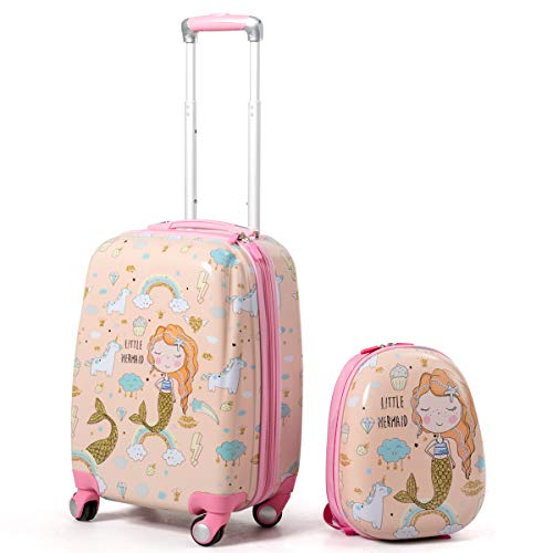 Goplus Kids Luggage Set, 12' & 18' Kids Carry On Luggage Set, Multi-directional Wheels Suitcase, Large Capacity Rolling Trolley Suitcase, Gift for Boys and Girls Toddlers Children Travel (Mermaid)