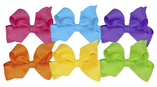 Wee Ones Girls' Mini Bow 6 pc Set Solid Grosgrain Variety Pack on a WeeStay Clip - Shocking Pink, Island Blue, Delphinium, Orange, Yellow, Apple Green