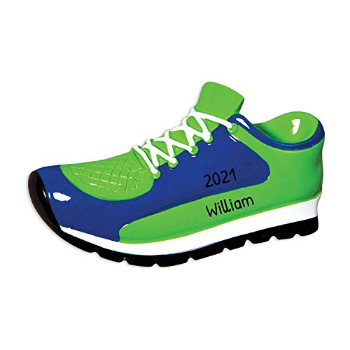 Personalized Sneaker Christmas Tree Ornament 2020 - Blue Green Sport Shoes Athlete Coach Hobby Running Basketball Game Championship Man Star Casual Men Air Workout Gift Year - Free Customization