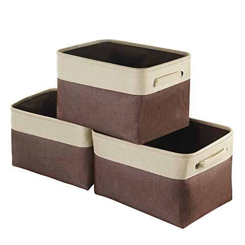 Awekris Cestas de almacenamiento de lona [juego de 3, café] Caja de almacenamiento plegable de lona grande de 38 x 25 x 23 cm cesta de tela para guardar juguetes, ropa, hogar, ropa, etc.