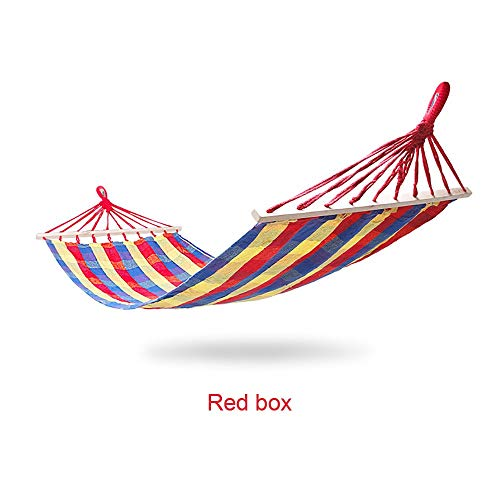 HUAA Outdoor Cotton Hammock 190 X 90 Cm Max Load Capacity 200 Kg Garden Hammock With Wooden Spreading Bars And Carry Bag Perfect Use For Yard Camping Beach And Patio Rainbow Stripes