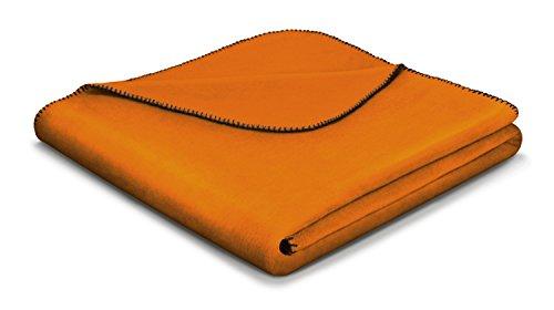 Biederlack Wohn- und Kuscheldecke, 60 % Baumwolle, Zierstich-Einfassung, 150 x 200 cm, Orange, Aura Curry, 649911