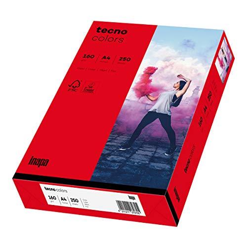 Inapa farbiges Druckerpapier, buntes Papier tecno Colors: 160 g/m², A4, 250 Blatt, intensivrot