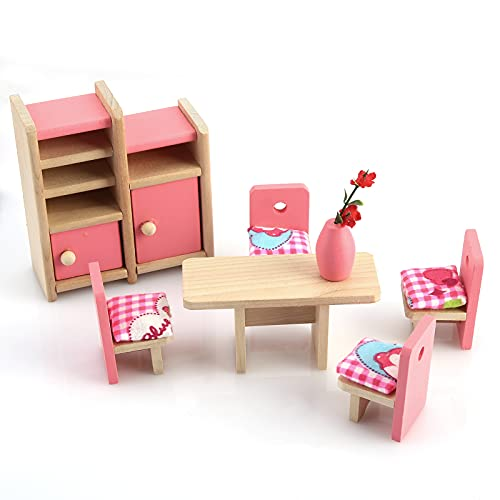 1 12 Doll Accessories Wooden Dollhouse Furniture Puzzle Toy DIY House Miniature Dining Room Set Gift for Kids Girls Mini Table Chair Cabinet for Living Room Dining Room