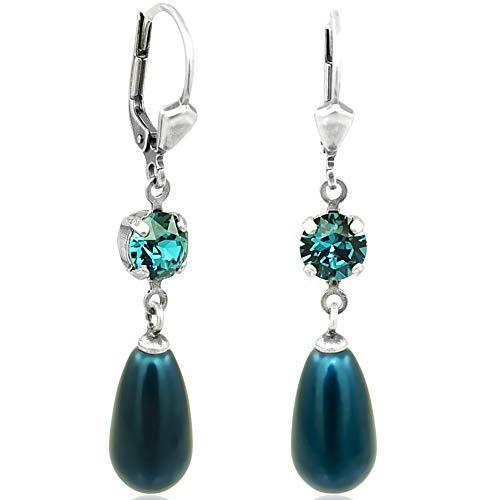 Perlen-Ohrringe mit Kristallen von Swarovski® Silber Petrol NOBEL SCHMUCK