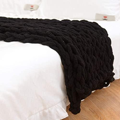 ZHICHENG Alfombra de Punto más o Aproximadamente, súper Grande Manta de Tejido a Mano de Punto Grueso para la Silla de Cama de Mascotas Sofá (Color : Black, Size : 100 * 130cm)