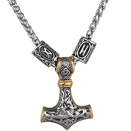 YANGFJcor Viking Celtic Nordic Mjolnir Acero Inoxidable Thor Martillo Colgante Collar, Hecho a Mano Hombres brújula Odin Rune Bead Amuleto joyería Regalos para Hombre Cadena,Bicolour Rune,60cm