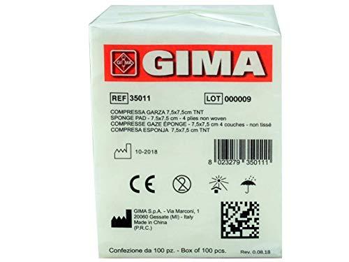 Gima 35011 Compressa Garza, Tessuto Non Tessuto, 4 Strati, 7.5 x 7.5 cm, Confezione da 1000