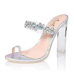 Laser Chunky High Heel Sandal Pump Shoe with Rhinestones